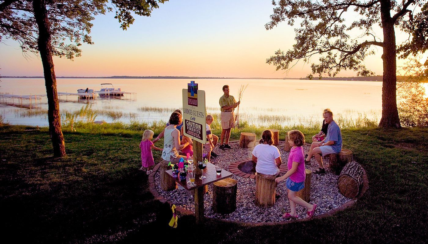 Enjoy Smores made over our Firepits and enjoy another beautiful sunset with you family at the Lodge on Lake Detroit.